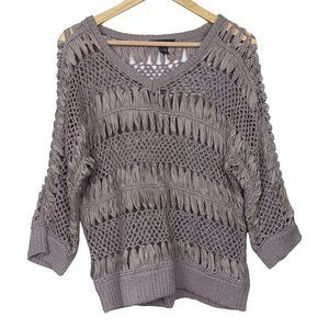 INC International Concepts Taupe Crochet Sweater